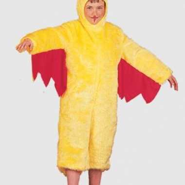 Pluche gele kip kinder foute kleding