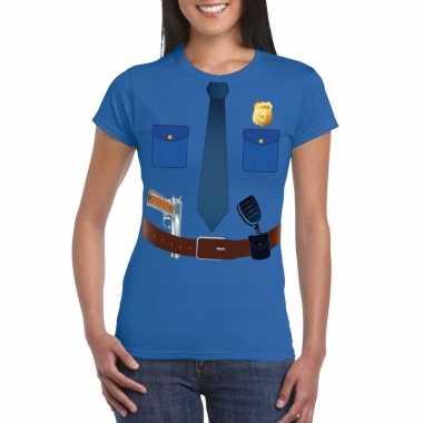 Politie uniform foute kleding t shirt blauw voor dames