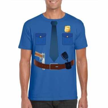 Politie uniform foute kleding t shirt blauw voor heren