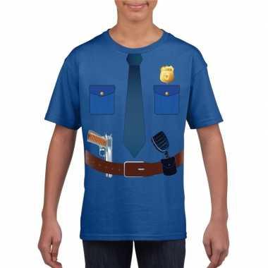 Politie uniform foute kleding t-shirt blauw voor kinderen