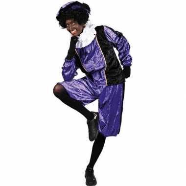 Roetveeg pieten foute kleding paars/zwart voor volwassenen