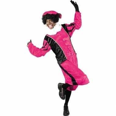 Roetveeg pieten foute kleding roze/zwart voor volwassenen