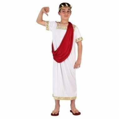 Romeinse toga foute kleding wit/rood voor jongens