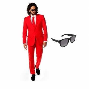 Rood heren foute kleding maat 48 (m) met gratis zonnebril