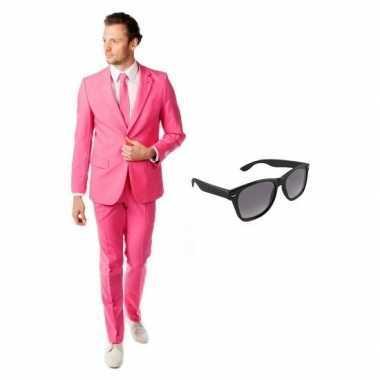 Roze heren foute kleding maat 52 (xl) met gratis zonnebril