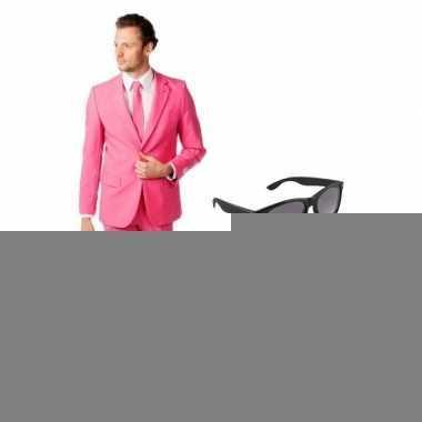 Roze heren foute kleding maat 54 (2xl) met gratis zonnebril