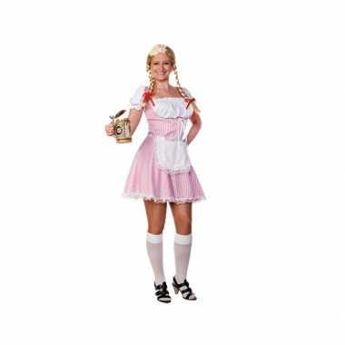Roze/witte tiroler dirndl foute kleding/jurkje voor dames