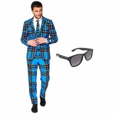 Schotse print heren foute kleding maat 54 (xxl) met gratis zonnebril