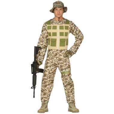 Soldaat pak/foute kleding camouflage/woestijn voor heren