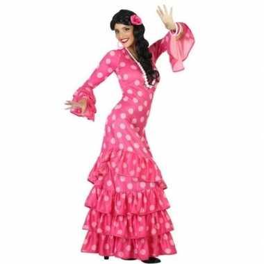 Spaanse flamencodanseres jurk roze foute kleding voor dames