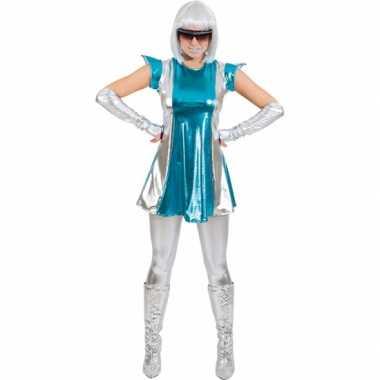 Space foute kleding blauw/zilver voor dames