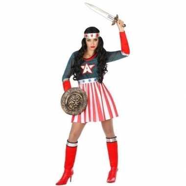 Superheld amerikaanse kapitein pak/foute kleding voor dames