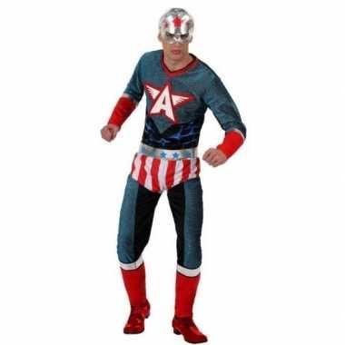 Superheld amerikaanse kapitein pak/foute kleding voor heren