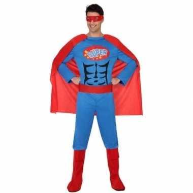 Superheld pak/foute kleding blauw/rood voor heren