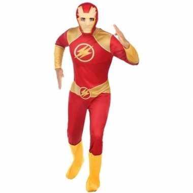 Superheld pak/foute kleding rood/goud voor heren
