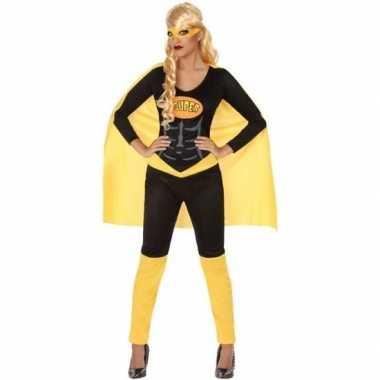 Superheld pak/foute kleding zwart/geel voor dames
