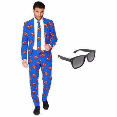 Superman heren foute kleding maat 54 xxl met gratis zonnebril