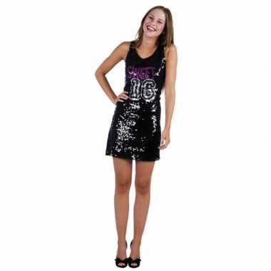 Verjaardagfoute kleding zwart sweet 16 jurkje