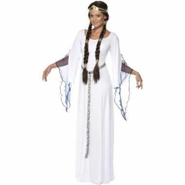 Witte lange middeleeuwse jurk foute kleding voor dames