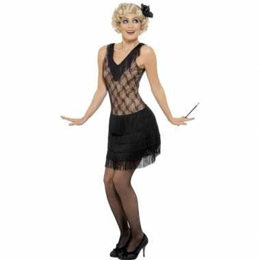 Zwart/beige flapper jurkje foute kleding voor dames