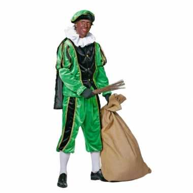 Zwart/groene pieten foute kleding fluweel