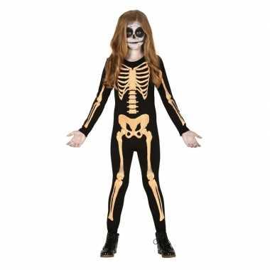Zwart/oranje skelet pak voor kinderen foute kleding