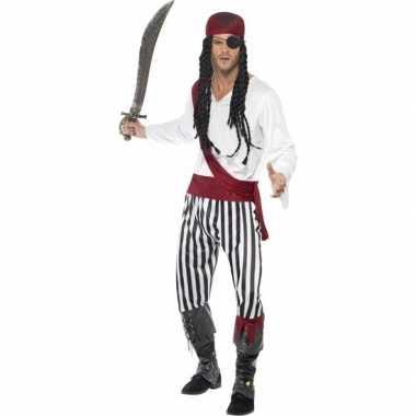 Zwart/wit piraten foute kleding voor heren