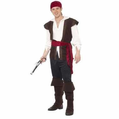 Zwart/wit/rood piraten foute kleding voor heren