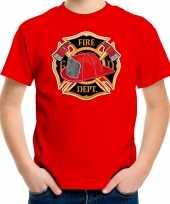 Brandweer logo t shirt foute kleding rood voor kinderen
