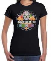 Day of the dead dag van de doden halloween t-shirt foute kleding zwart voor dames