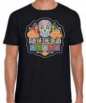 Day of the dead dag van de doden halloween t-shirt foute kleding zwart voor heren