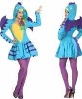Dierenpak blauwe draak foute kleding jurk voor dames