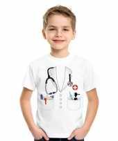 Doktersjas foute kleding t-shirt wit voor kinderen