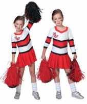 Foute cheerleader jurkjes rood met wit kleding