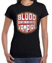 Foute halloween blood drinking vampire t-shirt zwart voor dam kleding