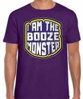 Foute halloween booze monster t-shirt paars voor heren kleding
