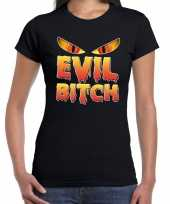 Foute halloween evil bitch t-shirt zwart voor dames kleding