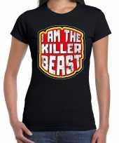 Foute halloween killer beast t-shirt zwart voor dames kleding