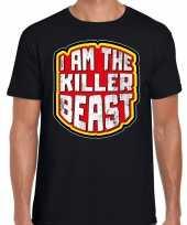 Foute halloween killer beast t-shirt zwart voor heren kleding