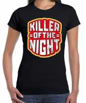 Foute halloween killer of the night t-shirt zwart voor dames kleding