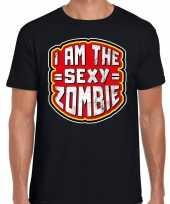 Foute halloween sexy zombie t-shirt zwart voor heren kleding
