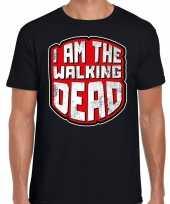 Foute halloween walking dead t-shirt zwart voor heren kleding