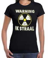 Foute halloween warning ik straal t-shirt zwart voor dames kleding