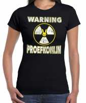 Foute halloween warning proefkonijn t-shirt zwart voor dames kleding
