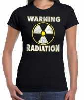 Foute halloween warning radiation t-shirt zwart voor dames kleding