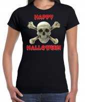 Foute happy halloween horror schedel t-shirt zwart voor dames kleding
