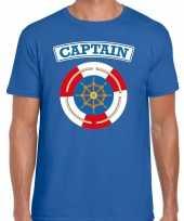 Foute kapitein captain t-shirt blauw voor heren kleding