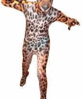 Foute second skin pak met luipaard print kleding