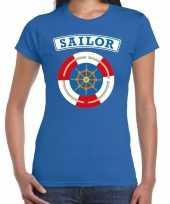 Foute zeeman sailor t-shirt blauw voor dames kleding