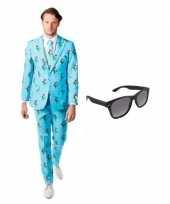 Heren foute kleding met tulpen print maat 48 m met gratis zonnebril